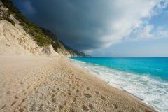 The beautiful beach of Egremni (Lefkada) Stock Photos