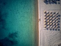 Beautiful beach with family drone shot royalty free stock photos