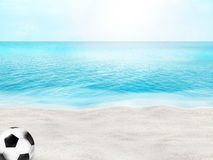Beautiful beach football soccer ball 3D ball sand water background Stock Images