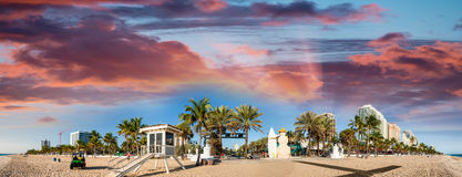 Beautiful beach of Fort Lauderdale. Panoramic coastline view nea. R Beach Boulevard Stock Photography