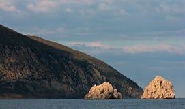 Beautiful beach of Gurzuf, Crimea, Black Sea. Calm Black Sea on the pebble beaches of Gurzuf, Crimea Royalty Free Stock Photo