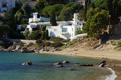 Beautiful beach house at Canyelles in Costa Brava Stock Image
