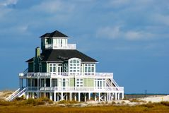 Beautiful Beach House on Shore Stock Photography