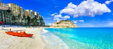 Beautiful beach and houses in Tropea village,Calabria. Beautiful Tropea village,panoramic view,Calabria,Italy royalty free stock images