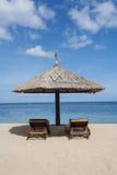 Beautiful beach and hut Stock Photo