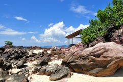 Beautiful beach with hut Stock Photo
