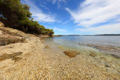 Beautiful beach in Hyeres France. Beautiful beach with clear water in Hyeres France Royalty Free Stock Photography