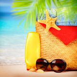 Beautiful beach items Stock Photos