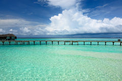 Beautiful beach with jetty Stock Images