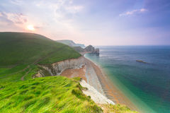 Beautiful beach on the Jurassic Coast of Dorset Stock Photos