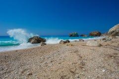 The beautiful beach of Kalamitsi (Lefkada) Royalty Free Stock Photos