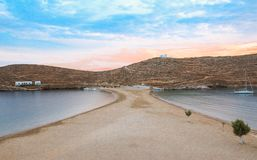 Beautiful beach of Kolona double bay Kythnos island, Cyclades, Greece at the end of the day. Travel destinations September 2018. Horizontal stock images