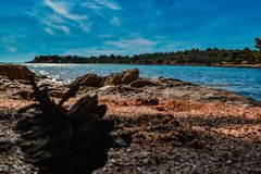 Beautiful beach Kosirina, near island Murter, Croatia stock image