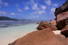 La Digue Island, Seychelles. Beautiful beach at La Digue Island, Seychelles Stock Image