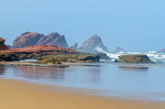 Beautiful beach landscape with big rocks Stock Images