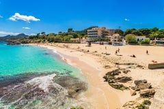 Beautiful beach landscape in Cala Rajada on Majorca. Sand beach Son Moll in Cala Ratjada on Mallorca, Spain Balearic islands royalty free stock photography