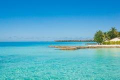 Beautiful beach landscape at Maldives. Beautiful paradise beach turquoise transparent sea around the island. Summer vacation on Maldives Royalty Free Stock Images