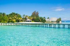 Beautiful beach landscape at Maldives. Beautiful paradise beach turquoise transparent sea around the island. Summer vacation on Maldives Royalty Free Stock Photo