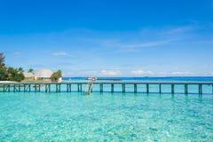 Beautiful beach landscape at Maldives. Beautiful paradise beach turquoise transparent sea around the island. Summer vacation on Maldives Stock Images