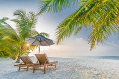 Beautiful beach landscape. Summer holiday and vacation concept. Inspirational tropical beach. Beach background banner stock photography