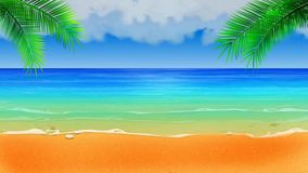 Beautiful beach landscape vector,best loop video background for relaxing on holiday