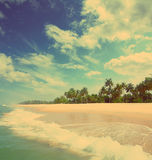 Beautiful beach landscape - vintage retro style Stock Images