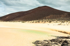 Beautiful beach las conchas,on La Graciosa, a small island near Stock Images