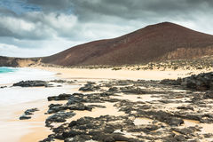 Beautiful beach las conchas,on La Graciosa, a small island near Royalty Free Stock Photo