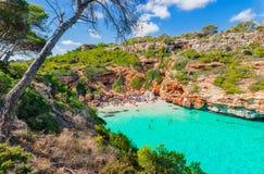 Beautiful beach Majorca Cala des Moro, Mediterranean Sea Spain Stock Image