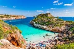 Beautiful beach Majorca island Spain Mediterranean Sea. Beautiful beach with tropical sea water Cala Moro on Majorca island, Spain Mediterranean Sea, Mallorca Stock Image