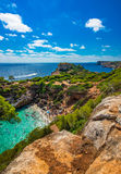 Beautiful beach Majorca Mallorca Cala des Moro Spain Mediterranean Sea. Aerial view of the beautiful beach with stunning landscape Cala des Moro, Majorca Spain Royalty Free Stock Images