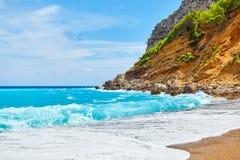 Beautiful beach on Mallorca, Spain. Beautiful empty beach Platja des Coll Baix on Mallorca, Spain royalty free stock photos