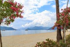 Beautiful beach in Marmaris center among oleander trees Stock Photo