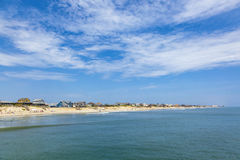 Beautiful beach at nags Head in the Outer Banks. Under blue sky royalty free stock photography