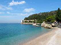 Beautiful beach near Miramare Castle Royalty Free Stock Photos