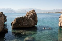 Beautiful beach near the old town of Kaleici in Antalya in Turke Royalty Free Stock Images