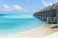 Beautiful  beach with nice resort in maldives Stock Photography