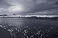 Black and white sea beach Stock Photography