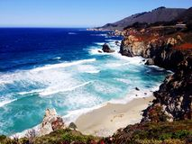 Beautiful beach and ocean view. (Big Sur USA) CA route 1 Stock Photography