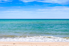 Beautiful Beach Ocean View. Blue And Green Ocean View With Clear Blue Sky Nature Background Stock Image