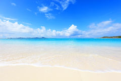 Beautiful beach in Okinawa. The cobalt blue sea and blue sky of Okinawa.Japan Royalty Free Stock Photography