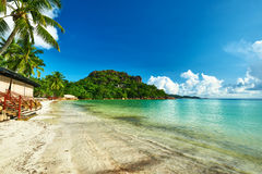 Beautiful beach with palm tree at Seychelles Stock Photos