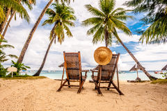 Beautiful beach with palm trees. At Philippines Royalty Free Stock Photos