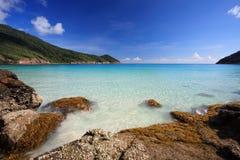 Beautiful Beach Panorama. Beautiful Panorama in a luxury tropical spa resort Royalty Free Stock Images