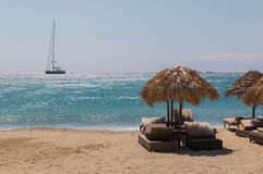 Beautiful beach. Pictured on the beautiful beach on Mykonos Stock Photos