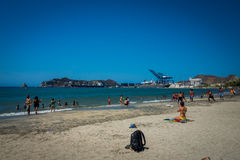 Beautiful beach and port in Santa Marta, Colombia Stock Photos