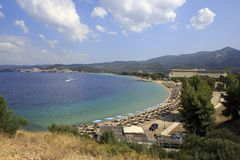 Beautiful beach of Porto Carras Grand Resort. Stock Photo