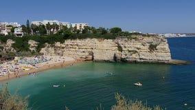 Beautiful beach Praia da Senhora da Rocha in Portugal, Algarve - Panorama Picture - 4K stock footage