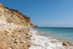 Beautiful beach Praia de Mos, Lagos royalty free stock photography