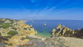 Beautiful beach Praia do Camilo, Lagos, Algarve region, Portugal stock video